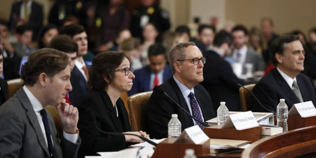 From left: Constitutional law experts Harvard Law School professor Noah Feldman, Stanford Law School professor Pamela Karlan, University of North Carolina Law School professor Michael Gerhardt and George Washington University Law School professor Jonathan Turley during a hearing before the House Judiciary Committee on the constitutional grounds for the impeachment of President Trump. (AP Photo/Andrew Harnik)