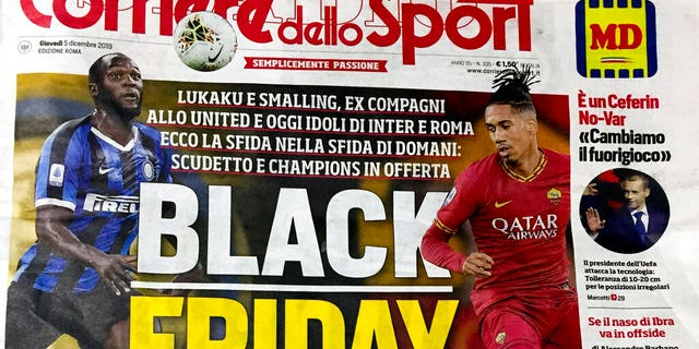 "The front page of the Italian sports daily, Corriere dello Sport, on Dec. 5. A leading Italian sports daily is facing criticism for a headline reading ""Black Friday"" and featuring two black soccer players on the cover."