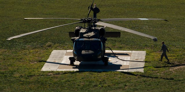 A Black Hawk helicopter being refueled at Camp Ripley in northern Minnesota.