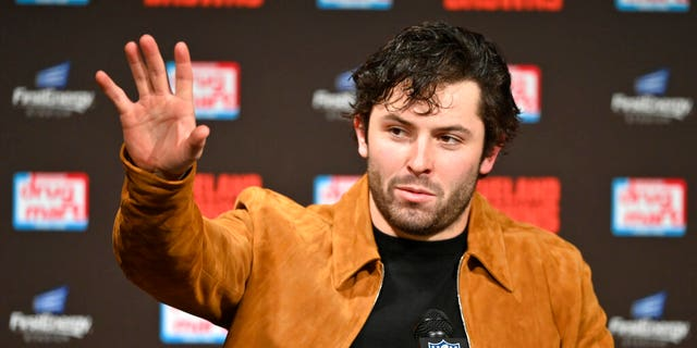 Cleveland Browns quarterback Baker Mayfield answers questions after an NFL football game against the Cincinnati Bengals, Sunday, Dec. 8, 2019, in Cleveland. The Browns won 27-19. (AP Photo/David Richard)
