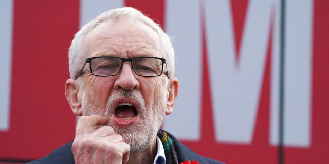 Labour Party leader Jeremy Corbyn gestures, at a rally in Stainton Village, on the last day of General Election campaigning, in Middlesbrough, England, Wednesday, Dec. 11, 2019. (Owen Humphreys/PA via AP)