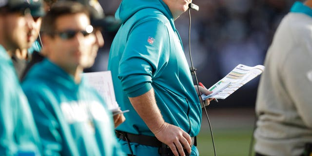 Jacksonville Jaguars head coach Doug Marrone stands on the sideline during the second half of an NFL football game against the Oakland Raiders in Oakland, Calif., Sunday, Dec. 15, 2019.