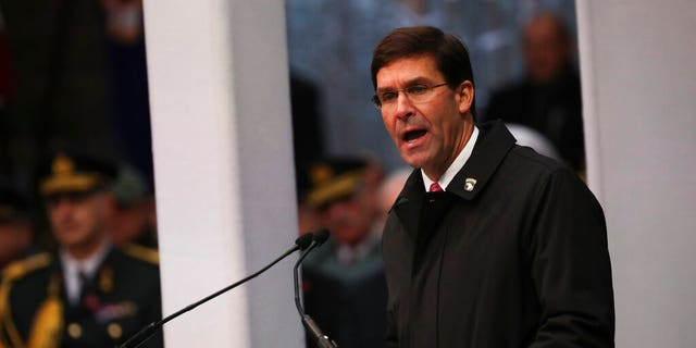 U.S. Secretary of Defence Mark Esper gives a speech during a ceremony to commemorate the 75th anniversary of the Battle of the Bulge at the Mardasson Memorial in Bastogne, Belgium