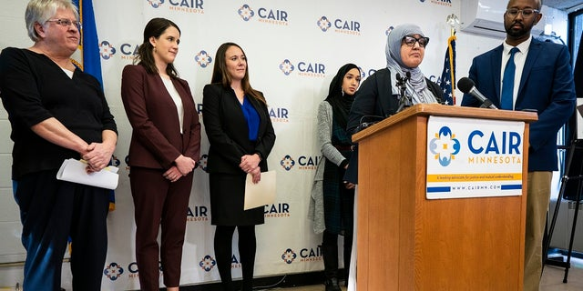 Aida Shyef Al-Kadi, of St. Louis Park, speaks during a press conference at CAIR-MN headquarters in Minneapolis on Tuesday. (Leila Navidi/Star Tribune via AP)