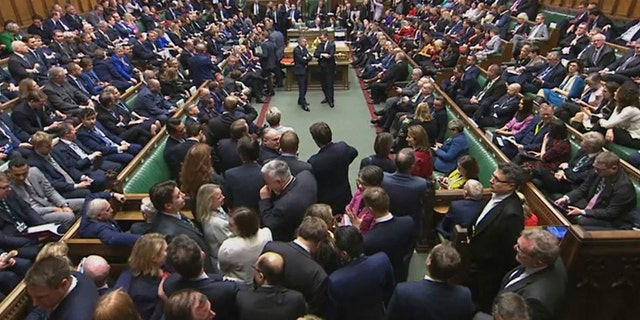 British lawmakers approved in principle Prime Minister Boris Johnson's Brexit bill, clearing the way for the U.K. to leave the European Union next month. The House of Commons voted 358-234 on Friday for the Withdrawal Agreement Bill. (House of Commons via AP)