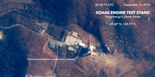 This Dec. 15, 2019, satellite image from Planet Lab Inc., that has been analyzed by experts at the Middlebury Institute of International Studies, shows the Sohae Engine Test Stand in Tongchang-ri, North Korea. This new satellite image on a North Korean missile-related site shows the construction of a new structure this month.