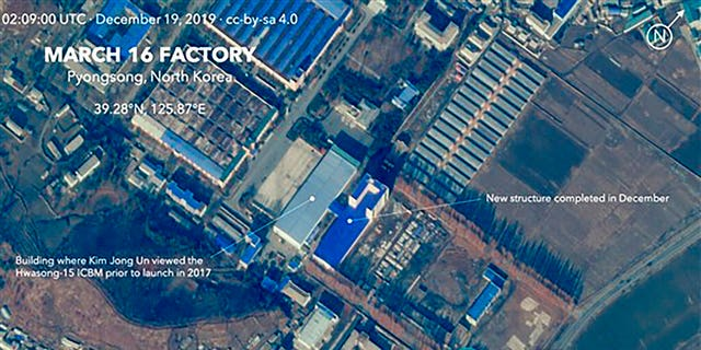 This Dec. 19, 2019, satellite image from Planet Lab Inc., that has been analyzed by experts at the Middlebury Institute of International Studies, shows the March 16 Factory in Pyongsong, near Pyongyang, where North Korea manufactures military trucks used as mobile launchers for long-range missiles. This new satellite image on a North Korean missile-related site shows the construction of a new structure this month.