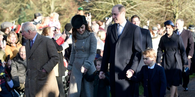 Britain's Prince Charles, Kate, Duchess of Cambridge, Prince William and their children Prince George, right, and Princess Charlotte arrive to attend the Christmas Day morning church service at St. Mary Magdalene Church in Sandringham, Norfolk, England, Wednesday, Dec. 25, 2019. (Joe Giddens/PA via AP)
