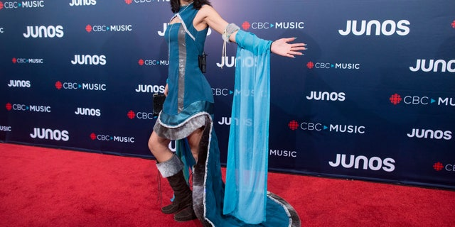 FILE - In this March 25, 2018, file photo, Kelly Fraser arrives on the red carpet at the Juno Awards in Vancouver, British Columbia. (Darryl Dyck/The Canadian Press via AP)