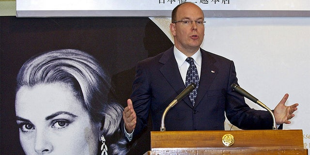 Monaco's Prince Albert II, son of the late Princess Grace Kelly, speaks during a news conference after visiting an exhibition about his mother at a department store in Tokyo.