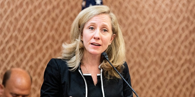 Virginia Rep. Abigail Spanberger speaking at a press conference sponsored by the Problem Solvers Caucus and the Common Sense Coalition to announce