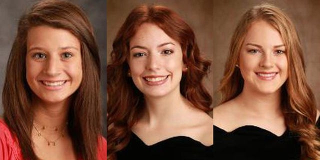 The 16-year-old girls — Cassidy Leigh Dunn (left), Emilee Fain, (center) and Addyson Martin (right — had just left a home where they were celebrating the holiday together whentheir SUV careened off the road about 6 p.m., authorities said.<br>