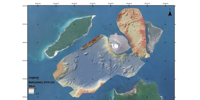 A map of the Anak Krakatau marine landslide.