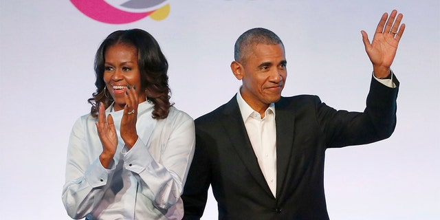 Former initial lady Michelle Obama might have deserted a initial chronicle of a central mural of former President Barack Obama. (AP)