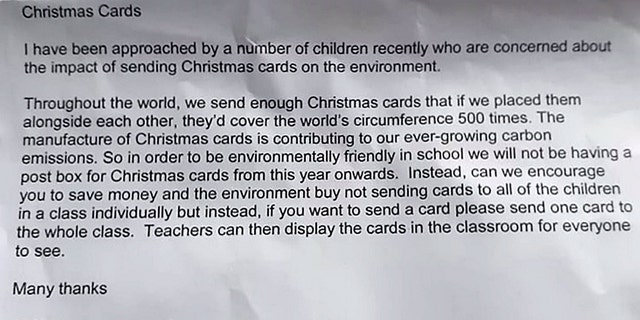 Westlake Legal Group Belton-Lane-Primary-School-SWNS Christmas cards banned at England school by principal concerned about their environmental impact Nicole Darrah fox-news/world/world-regions/united-kingdom fox-news/world/environment fox-news/special/occasions/holiday fox-news/special/occasions/christmas fox-news/odd-news fox-news/lifestyle/occasions/christmas fox news fnc/world fnc article ae30ab67-9926-5640-b400-e1ac42024add