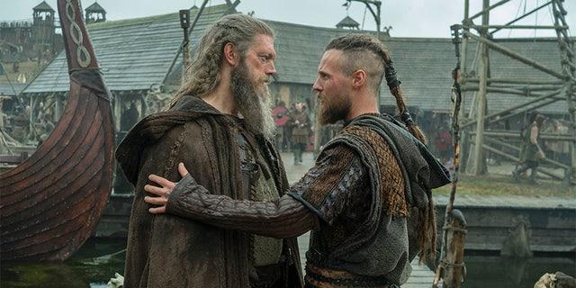 "Jordan Patrick Smith (Ubbe, right) and Adam Copeland (Kjetill, left) in ""Vikings."""