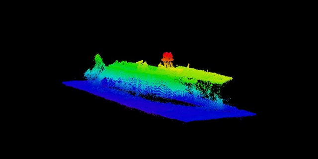 Scientists mapped the wreck of the USS Saratoga, which was sunk in the Baker test.