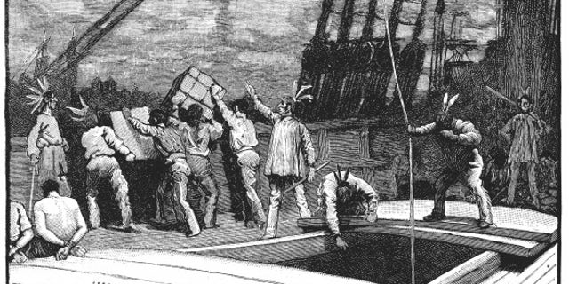 UNSPECIFIED - CIRCA 1754: Boston Tea Party, 26 December 1773. Inhabitants of Boston, Massachusetts, dressed as American Indians, throwing tea from vessels in the harbour into the water as a protest against British taxation. No taxation without representation. Wood engraving, late 19th century. (Photo by Universal History Archive/Getty Images)