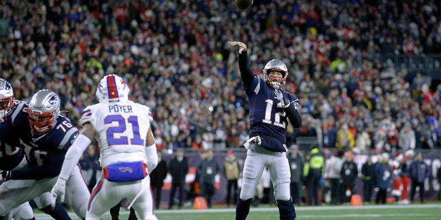 New England Patriots quarterback Tom Brady throws a touchdown pass to tight end Matt LaCosse in the first half of an NFL football game against the Buffalo Bills, Saturday, Dec. 21, 2019, in Foxborough, Mass. (AP Photo/Steven Senne)