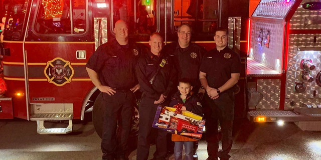 """The Brownsburg fire department, in a tweet, said it was an """"honor to be able to help bring a little Christmas joy to our friend Tyler."""""""