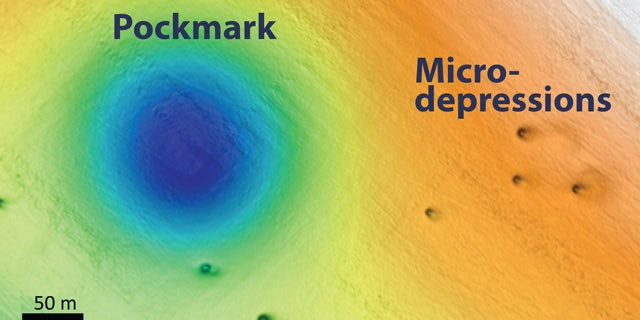 A map of the seafloor off Big Sur showing a pockmark and micro-depressions.