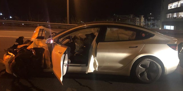 State Police: cruiser struck by Tesla 3 in