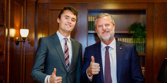 Turning Point USA founder and Liberty University President Jerry Falwell, Jr. pictured together.