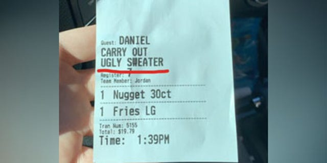 "Daniel Graham was amused to see that a Chick-fil-A worker had described him as ""ugly sweater."""