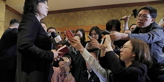 In this Feb. 28 file photo, North Korea Deputy Foreign Minister Choe Son Hui talks during a press conference at Melia Hotel in Hanoi, Vietnam. (AP)