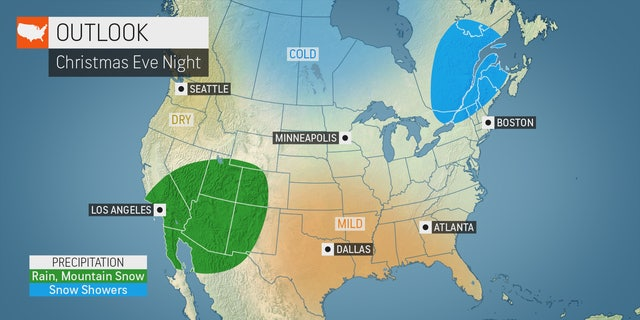 The outlook for Christmas Eve night as of Dec. 18 shows very little precipitation out there across the country.