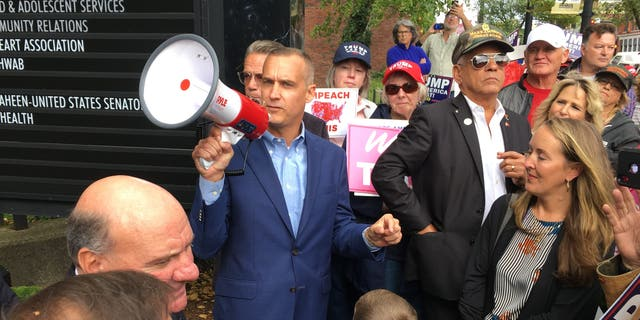 Corey Lewandowski speaks at a anti-Trump impeachment rally in Manchester, NH on Oct. 7, 2019