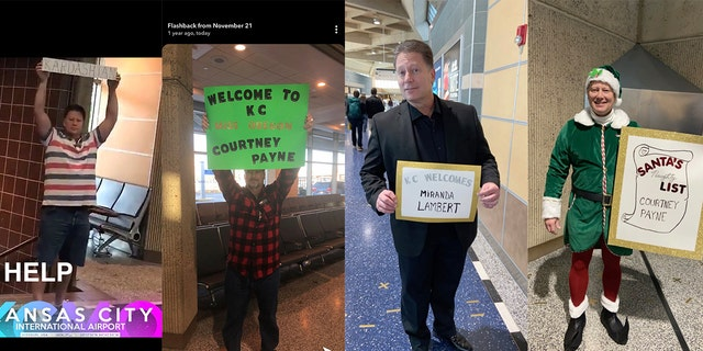 "Courtney Payne's father brings a new sign ""every time"" he picks her up from the airport."