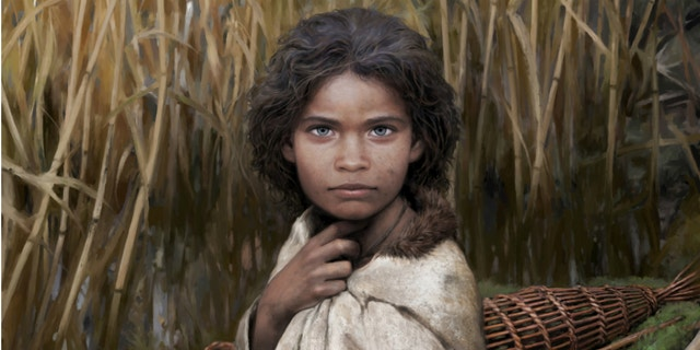 """An artist's impression of the Stone Age woman dubbed """"Lola."""""""