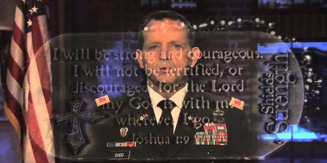 US (Ret.) Col. David Dodd with a reflection of Joshua 1:9 before his retirement.