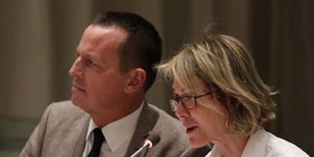 Richard Grenell, US Ambassador to Germany, and Kelly Craft, the U.S. ambassador to the United Nations speak at a Tuesday meeting to address decriminalization against same-sex relationships.