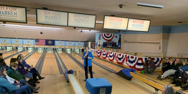 Democratic presidential candidate Sen. Elizabeth Warren of Massachusetts holds a town hall at a bowling alley in Peterborough, N.H., on Dec. 6, 2019