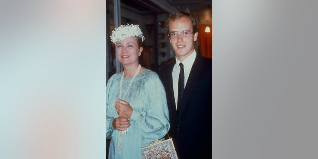 Princess Grace of Monaco with her son Prince Albert at the Sporting Club of Monaco, circa 1980.