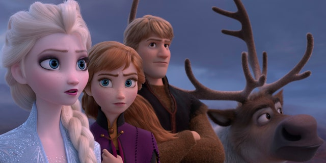 This image released by Disney shows Elsa, voiced by Idina Menzel, from left, Anna, voiced by Kristen Bell, Kristoff, voiced by Jonathan Groff and Sven in a scene from the animated film, 'Frozen 2.'
