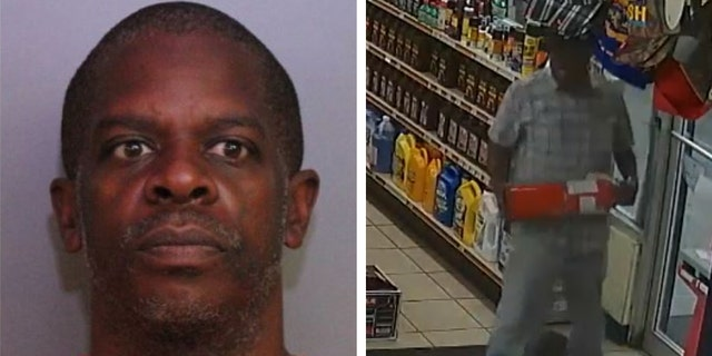 Tillman unsuccessfully tried to use a fire extinguisher to bust down the door, deputies said. (Polk County Sheriff's Office)