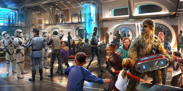"Artist rendering of the interior of the ""Star Wars: Galactic Starcruiser,"" set to debut at Disney World in 2021."