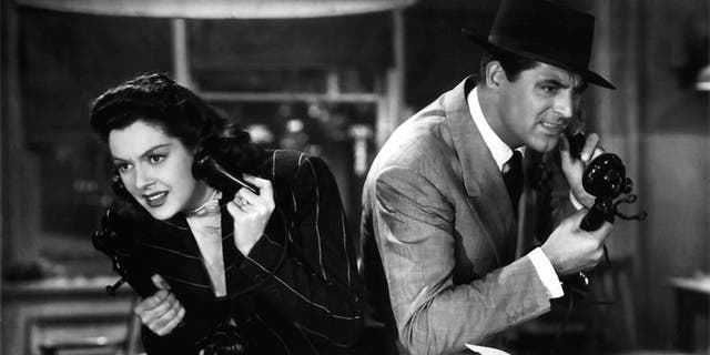 """Actress Rosalind Russell and Cary Grant in a scene from the movie """"His Girl Friday."""""""
