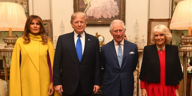 LONDON, ENGLAND - DECEMBER 03: Prince Charles, Prince of Wales and Camilla, Duchess of Cornwall meet US President Donald Trump and wife Melania at Clarence House on December 3, 2019 in London, England. France and the UK signed the Treaty of Dunkirk in 1947 in the aftermath of WW2 cementing a mutual alliance in the event of an attack by Germany or the Soviet Union. The Benelux countries joined the Treaty and in April 1949 expanded further to include North America and Canada followed by Portugal, Italy, Norway, Denmark and Iceland. This new military alliance became the North Atlantic Treaty Organisation (NATO). The organisation grew with Greece and Turkey becoming members and a re-armed West Germany was permitted in 1955. This encouraged the creation of the Soviet-led Warsaw Pact delineating the two sides of the Cold War. This year marks the 70th anniversary of NATO. (Photo by Victoria Jones - WPA Pool/Getty Images)