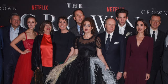 "Erin Doherty, Marion Bailey, Olivia Colman, Tobias Menzies, Helena Bonham Carter, Jason Watkins, Josh O'Connor, guest and Peter Morgan attend the World Premiere of Netflix Original Series ""The Crown"" Season 3. (Photo by David M. Benett/Dave Benett/WireImage)"