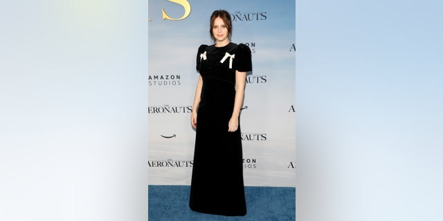 """Felicity Jones attends the premiere of """"The Aeronauts."""" (Photo by Taylor Hill/WireImage)"""