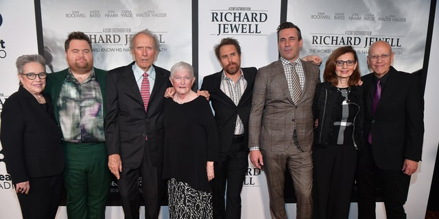 "(L-R) Kathy Bates, Paul Walter Hauser, Clint Eastwood, Barbara ""Bobi"" Jewell, Sam Rockwell, Jon Hamm, Nadya Bryant and G. Watson Bryant Jr. attend the ""Richard Jewell"" Atlanta Screening at Rialto Center of the Arts on December 10, 2019 in Atlanta, Georgia.(Photo by Prince Williams/Wireimage)"