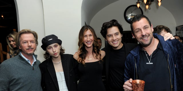 """Left to right: David Spade, King Princess, Jackie Sandler, Cole Sprouse and Adam Sandler at the premiere of """"Uncut Gems."""" (Photo by Joshua Blanchard/Getty Images for A24)"""