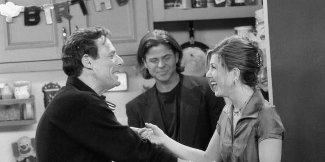 """""""The One with the Two Parties"""" Episode 22 -- Air Date 05/02/1996 -- Ron Leibman as Dr. Leonard Green, Jennifer Aniston as Rachel Green"""