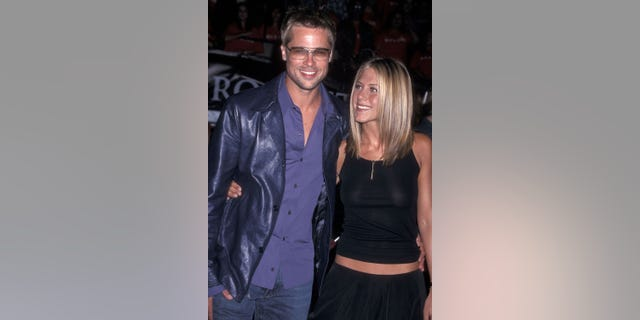 Actor Brad Pitt and actress Jennifer Aniston attend the 'Rock Star' Westwood Premiere in September 2001.