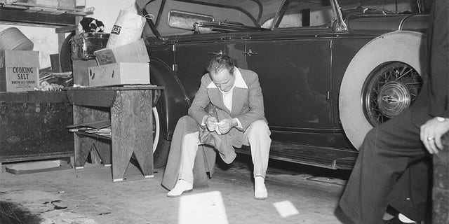 Roland West mourning the death of movie actress and friend Thelma Todd the morning after her death in 1935. Todd was found in her garage overcome by carbon monoxide poisoning and West became a suspect in her death.