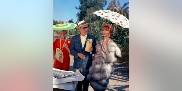 """From left: Natalie Schafer (as Mrs. Lovey Howell), Jim Backus (as Thurston Howell III), Tina Louise (as Ginger) of """"Gilligan's Island."""""""